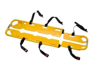 yellow scoop stretcher with black patient straps
